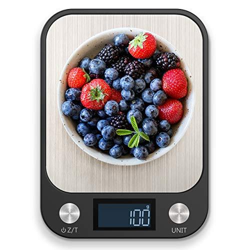 NBPOWER Küchenwaage, Gehärtetes Essen Waage Küchen Essenswaage Digital küchenwaage mit Großem Panel, 1 g Richtigkeit und 5 Einheiten