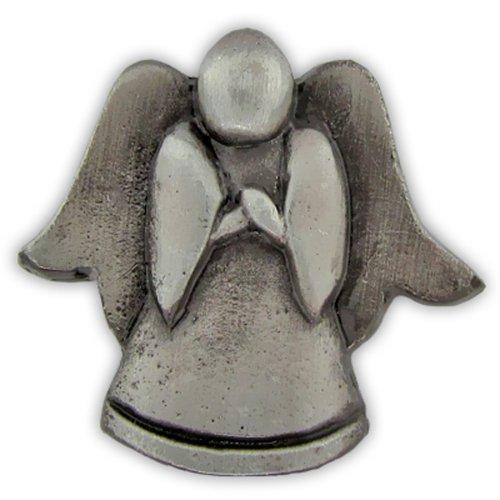 PinMart's Antique Silver Religious Spiritual Angel Praying Lapel Pin by PinMart