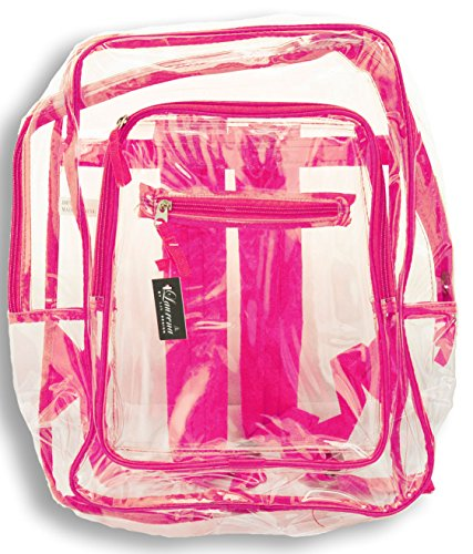 Clear Plastic See Through Multi Color Transparent Backpack (Hot Pink)