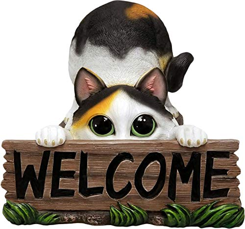 World of Wonders - Meow & Forever Series - Playful Pounce - Collectible Indoor Outdoor Calico Kitty Cat Statue with Welcome Sign, 12.5-inch