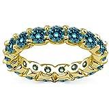 2.00 Carat Natural Blue Diamond Full Eternity Wedding Anniversary Bridal Band Ring 14K Yellow Gold