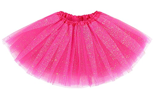 Pink Girls Tutu (Girls Four Layered Sparkling Sequins Princess Tutu Skirt Ballet Dance Dress Rose)