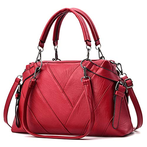 Fashion per Business S charma Ladies Elegante Outdoor in Laptop Ladies Canvas Oxford Retro pelle Handbag Zaino Satchel Red AHF6x7pqH