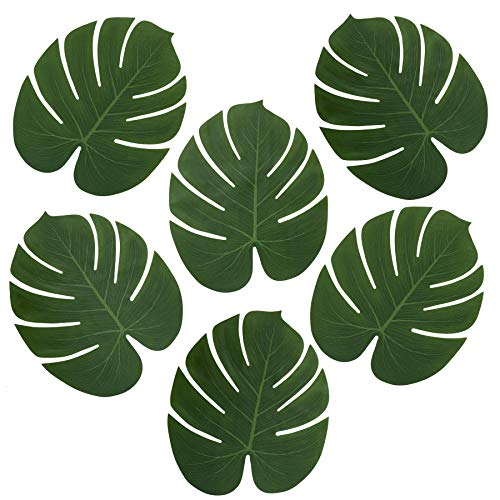 l Palm Leaves for Party Table Decoration, Imitation Tropical Leaf Placemats Table Runners or Greenery Décor for Events, Beach Theme or Jungle Party Supply (Large, 13.8 x 11.4 Inch) ()