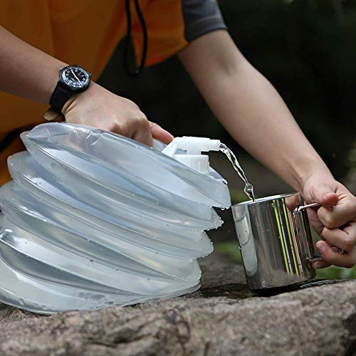 AceCamp Accordion Jerrycans, Collapsible Water Container, Drinking Water Carrier Jug with Spigot, Food Grade PET, Camping, Hiking, Backpacking, Outdoor, Flat Convenient Storage (15 Liter)