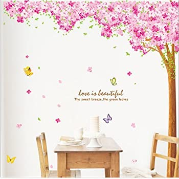 Amazing Hunnt® Large Pink Sakura Flower Cherry Blossom Tree Wall Sticker Decals PVC  Removable Wall Decal For Nursery Girls And Boys Childrenu0027s Bedroom