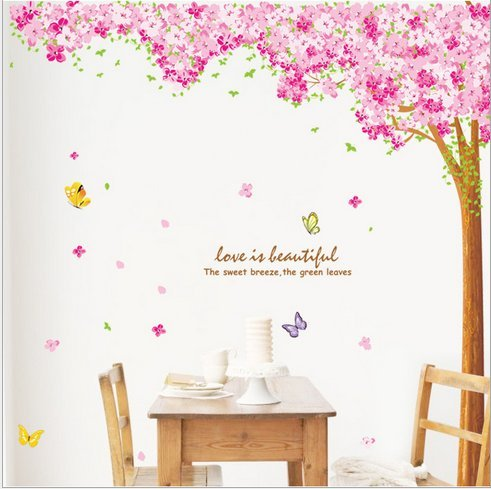 Great Hunnt® Large Pink Sakura Flower Cherry Blossom Tree Wall Sticker Decals PVC  Removable Wall Decal Part 24