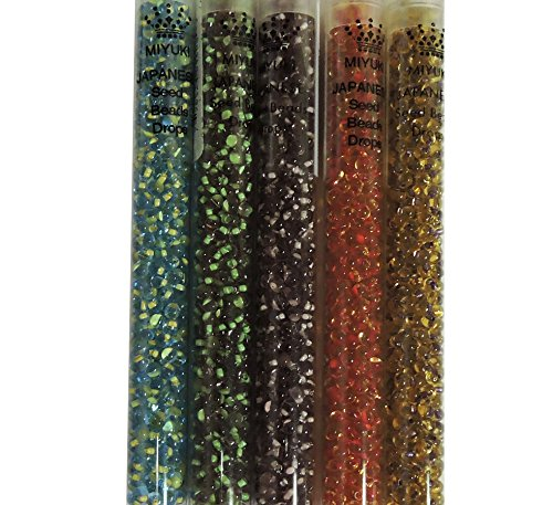Color Lined Mix 1 Miyuki 3.4mm Glass Tear Drop Fringe Seed Beads 125 Grams