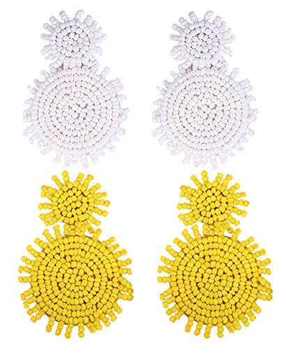 Beads Pair Disc - 2 Pairs Statement Earrings Beaded Earrings for Women - Bohemian Drop Earrings Layered Disc Dangle Earrings Idea Gift White Yellow