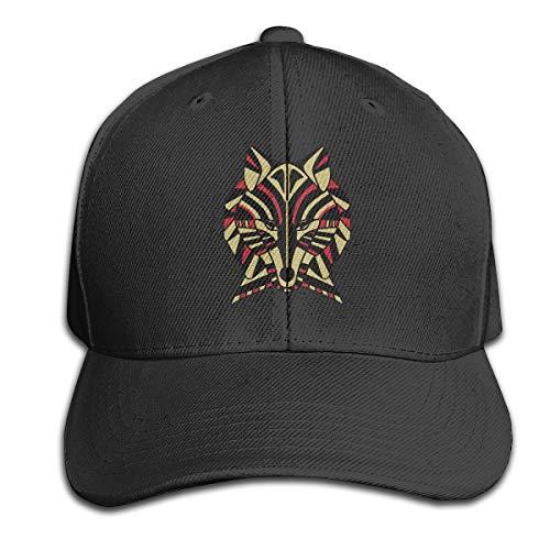 - Coyote Tribal Art Totem Men Baseball Hat Trucker Hat Dad Cap Plain Cap Black