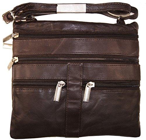 Brown Ladies Genuine Leather Cross Body Bag Satchel Messenger Bag 48'' Strap by Wallet (Image #1)