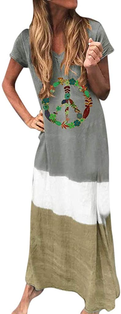 Gibobby Long Maxi Dresses for Women,Womens Gradient Color Block Tie-Dyed V Neck Short Sleeve Summer Loose Long Dress