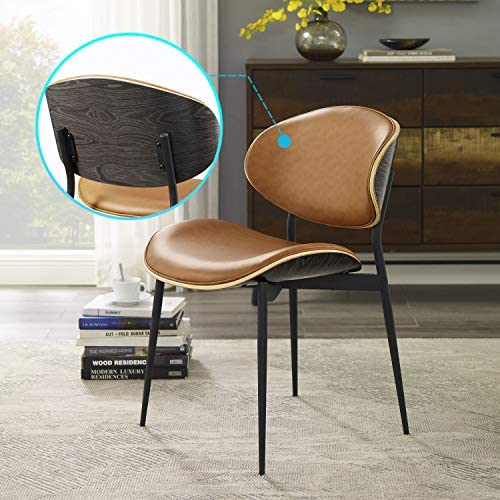 Art Leon Mid Century Modern Retro Faux Leather Upholstered Dining Chair
