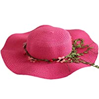 GETIEN Large Brim Hat Beach Hat Foldable Comfortable Large Brim Summer Beach Outdoor Hat Anti-UV Protection hat (Bright Pink)