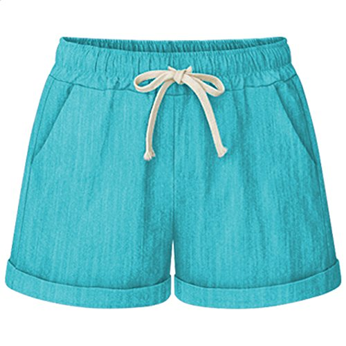 (XinDao Women's Elastic Waist Casual Comfy Cotton Linen Beach Hiking Shorts with Drawstring Green US 3XL/Asia 8XL)
