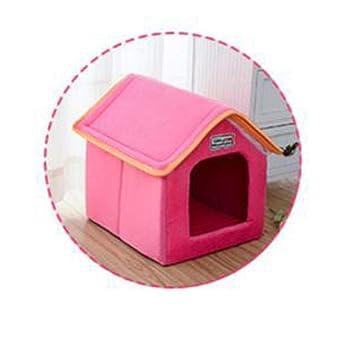Wuwenw Casa De Mascotas Colchón Plegable Tapicería Invierno Leopardo Perro Cachorro Sofá Cojín Habitación Perrera Nido