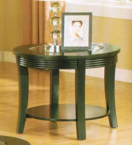 End Table with Glass Top in Espresso Finish
