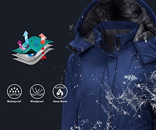 Wantdo Women's Waterproof Ski Jacket Warm Winter Coat Windproof Snow Coats Warm Fleece Raincoat