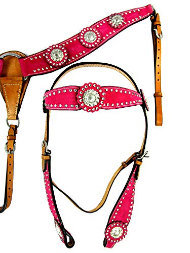 Headstall-BREASTCOLLAR-Set-Silver-Show-Parade-Event-Pink-Horse-Western-Leather-Bridle