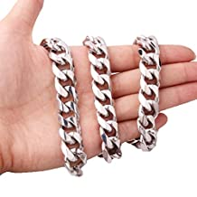 Top Sale 15mm Silver Cool Mens Stainless Steel Cuban Curb Link Chain Bracelet Or Necklace,7-40""