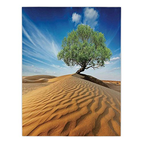 iPrint Satin Rectangular Tablecloth [ Tree of Life,Tree in the Desert on Sand Dune Dry But Alive Nature Habitat Life Photo,Blue Cream Green ] Dining Room Kitchen Table Cloth Cover
