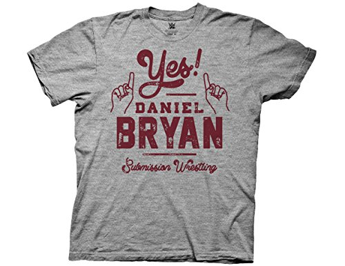 Ripple Junction WWE Adult Unisex Yes! Script Daniel Bryan Submission Light Weight Crew T-Shirt 3XL Heather Grey (Wwe Yes Tshirt)