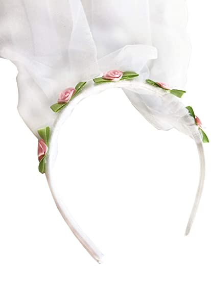 WHITE rosebud head band with veil FANCY DRESS KIDS//ladies hen do