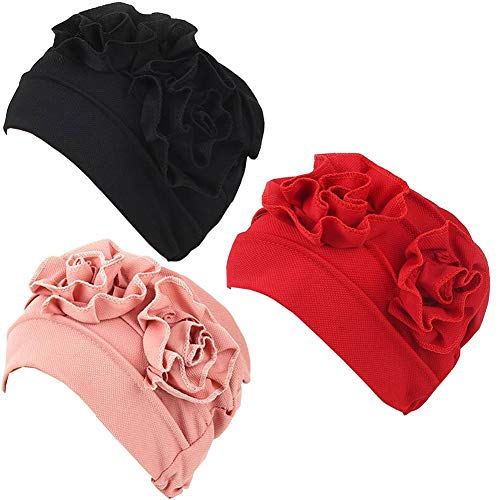 Luckystaryuan 3Pack Womens Chemo Hat Beanie Turban Headwear for Cancer Patients (Style 3)
