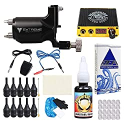Extreme Rotary Tattoo Machine Kit Power Supply Complete Tattoo Kits Foot Pedal Grip Cartridge Needles for Tattoo Artists (Disposable grip)