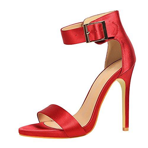 qianchuangyuan Donna Scarpe Sexy Elegant Vino Lacci Rosso Alti Sandali con Cinturino Alto Caviglia Estate Tacco Eleganti Estivi Sandali Tacco rwqt1r