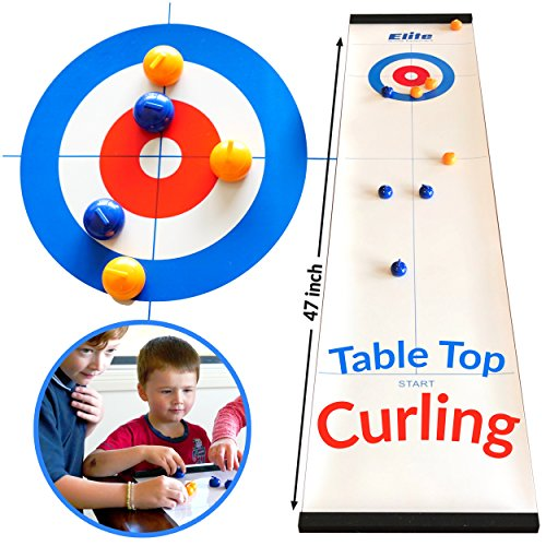 Elite Sportz Tabletop Curling Game for Families. Adults vs The Kids in this Fun Family Game. It's Way More Fun Than it Looks, Quick and Easy to Set-Up and So Compact for Storage or as a Travel Game (Shuffleboard Equipment)