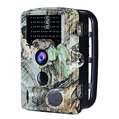 "AUCEE Trail Camera, 16MP 1080P HD Wildlife Camera Motion Activated Night Vision Hunting Camera, IP56 Waterproof Game Camera with 120° Wide Angle Lens, 46 Low Glow IR LEDs and 2.4"" LCD Screen"