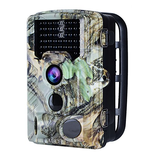 AUCEE Tracker Trail Camera 16MP 1080P 120 PIR Sensor Wildlife Hunting Camera 65ft No Glow Infrared Scouting Camera with Night Vision 46pcs IR LEDs IP56 Waterproof 0.2s Trigger Time Game Camera
