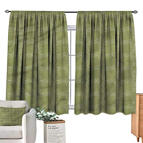 Mannwarehouse Bedroom Windproof Curtain Green and White Victorian Spirals W55 xL63 Suitable for ()