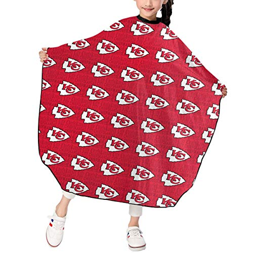 Marrytiny Design Barber Hair Cutting Cape Apron Kids Kansas City Chiefs Football Team Salon Haircut Styling Smock Cover Cloth for Toddler Home Hairdresser Gown Bib 39x47 Inches