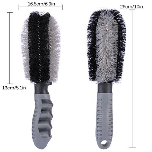 Autoec Car Wheel Cleaning Brush Kit 2 Tire Rim Scrub