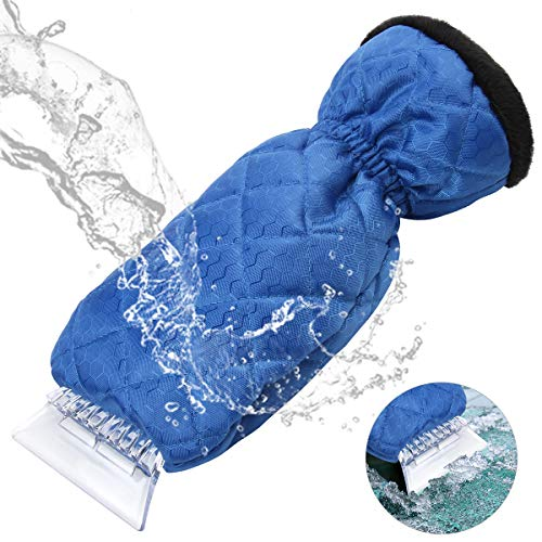 YIBEICO Car Snow Ice Scraper, Windscreen Scraper with Glove, Waterproof Windshield Snow Scrapers with Warming Thick Fleece, Elastic Wristband Window Ice Scraper Mitten, Blue