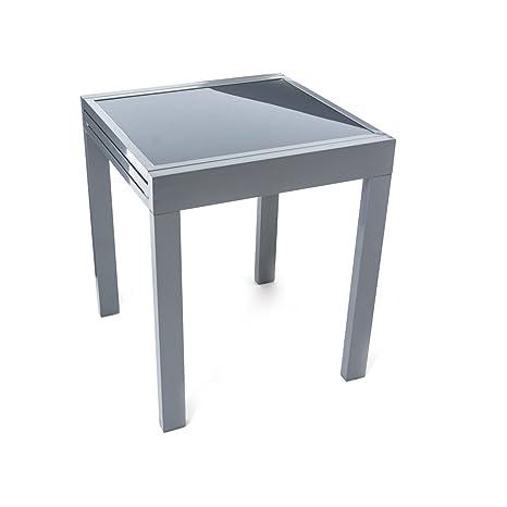 Tavolo allungabile di vetro per giardino, montatura di alluminio ...