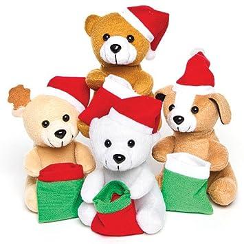 Baker Ross - Peluches navideños con calcetín Calcetines Sorpresa Infantiles (Pack de 4): Amazon.es: Juguetes y juegos