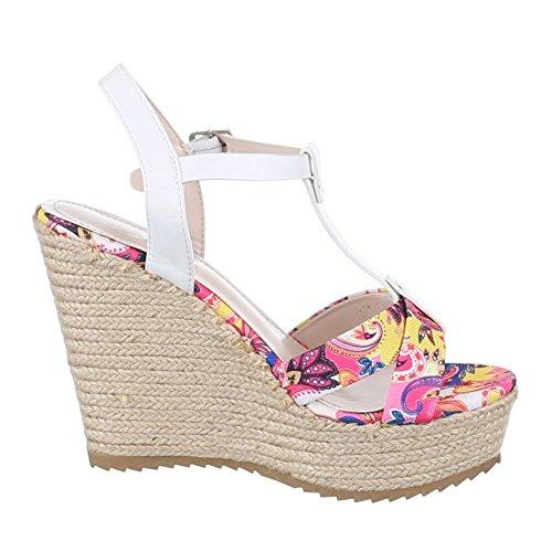 Ital-Design Keilsandaletten Damenschuhe Keilabsatz/Wedge Keilabsatz Schnalle Sandalen & Sandaletten Weiß Rosa