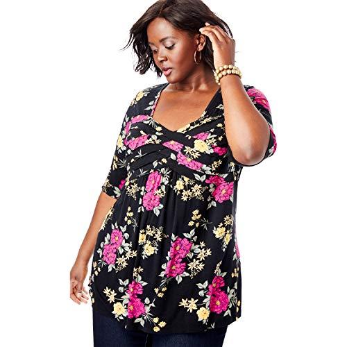 Jessica London Women's Plus Size Pleated Tunic - Black Bouquet, 30/32 ()
