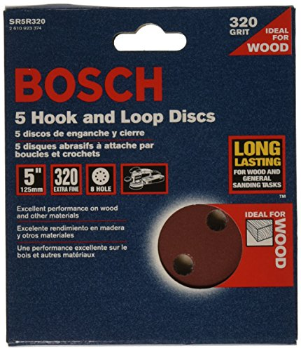 Bosch SR5R320 5-Piece 320 Grit 5 In. 8 Hole Hook-And-Loop Sanding Discs