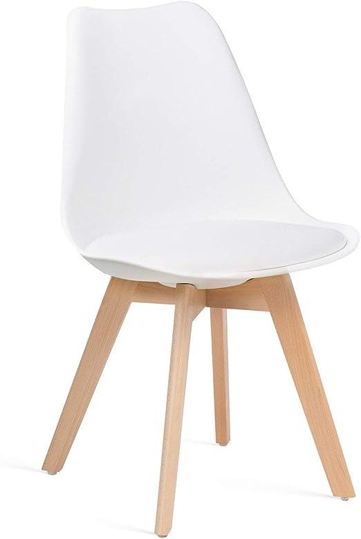 SKLUM Silla Nordic Polipropileno - Madera Mate Blanco - (Elige Color): Amazon.es: Hogar