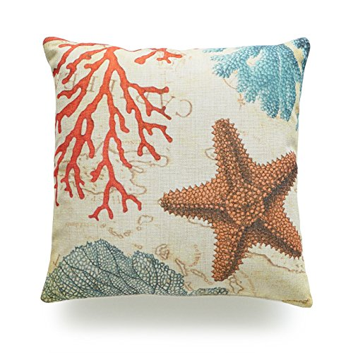 (Hofdeco Decorative Throw Pillow Cover Heavy Weight Cotton Linen Vintage Caribbean Sea Life Starfish Coral 18