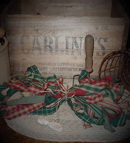 (50 Homespun Fabric Strips~Cinnamon Vanilla Scented Hang Tag~Christmas Collection~1