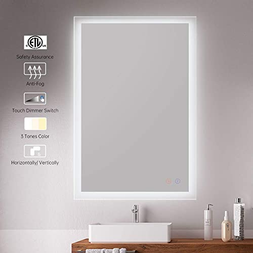 CITYMODA 36×24 Inch Bathroom Mirror, Led Lighted Wall Mounted Mirror, Frosted Edge Rectangle Makeup Mirror with Light, Horizontal Vertical, Anti-Fog, Waterproof, Dimmable, 3 LED Color Tones