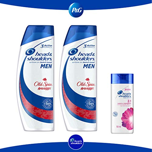 Pack Head & Shoulders Old Spice para Hombres Shampoo, 2 botellas 700 ml c/u + 90 ml de Head & Shoulders Suave y Manejable 2...