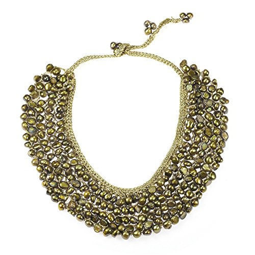 Silk Handmade Bib - AeraVida Cultured Freshwater Army Green Pearls Dyed Collar Bib Silk Net Necklace