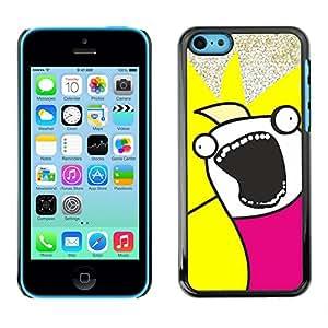 iPhone 5C - Metal de aluminio y de plástico duro Caja del teléfono - Negro - Funny Troll Meme Wtf Face