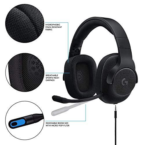 Logitech G433 7.1 Wired Gaming Headset with DTS Headphone: X 7.1 Surround for PC, PS4, PS4 PRO, Xbox One, Xbox One S, Nintendo Switch – Triple Black - (Renewed)